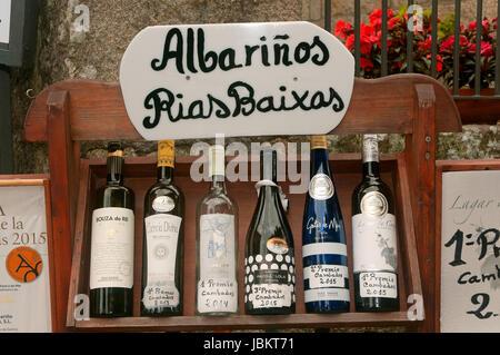 Galician Albarino wine bottles, Cambados, Pontevedra province, Region of Galicia, Spain, Europe - Stock Photo