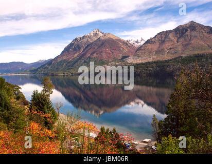 Autumn Colors in Lake Gutierrez, near Bariloche, Patagonia, Argentina - Stock Photo