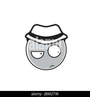 Detective Cartoon Face Wear Hat Suspecting People Emotion Icon - Stock Photo