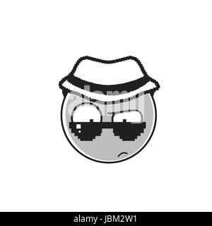 Detective Cartoon Face Wear Sunglasses And Hat People Emotion Icon - Stock Photo