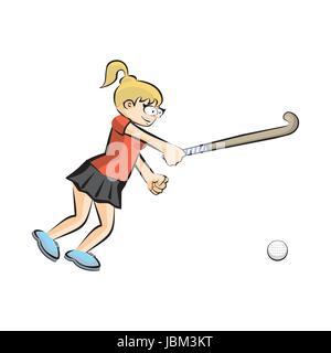 Female hockey player on grass cartoon style. Conceptual illustration. - Stock Photo
