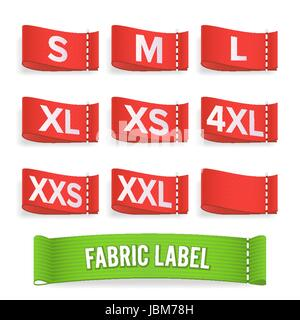 Size Label Fabric Vector. Realistic Set Bright Blank Fabric Labels Or Badges - Stock Photo