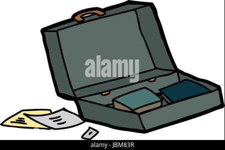 Open briefcase with papers and books on white background - Stock Photo