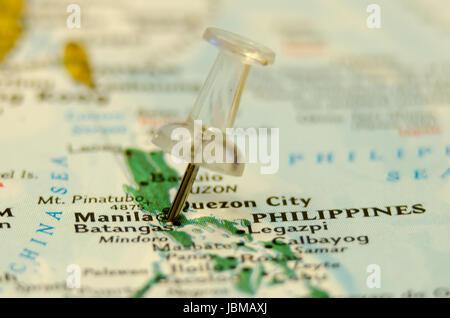 manila city pin on the map - Stock Photo