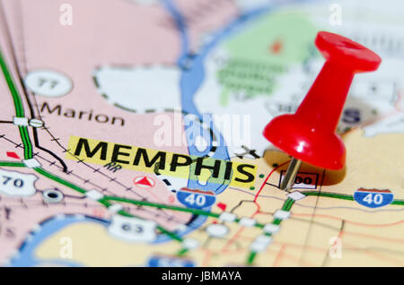 Memphis Pinned On A Map Of Tennessee USA Stock Photo Royalty - Memphison us map