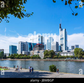 Frankfurt skyline. View towards the financial district from the banks of the River Main, Frankfurt am Main, Hesse, - Stock Photo