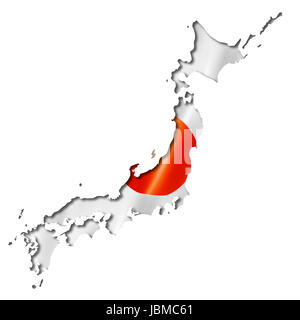 Japan flag map, three dimensional render, isolated on white - Stock Photo