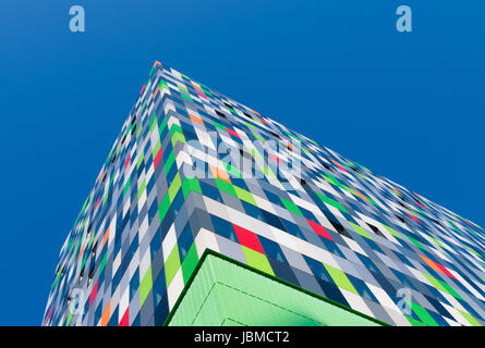 Casa Confetti is the name of one of the more colorful buildings on the campus of Utrecht De Uithof. In the tower - Stock Photo