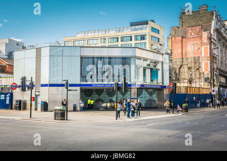 The new Tottenham Court Road station in London's West End, UK. - Stock Photo