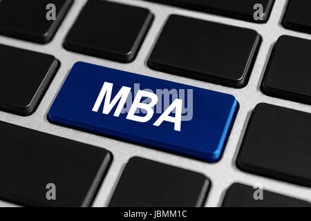 MBA or The Master of Business Administration blue button on keyboard, businees concept - Stock Photo