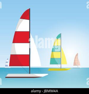 Floating boat Vector illustration Four multi colored sailboats are sailing on the sea Water sports Cartoon style - Stock Photo