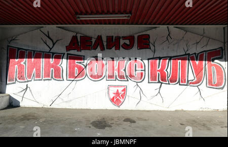 General view of graffiti before the 2018 FIFA World Cup Qualifying, Group D match at the Rajko Mitic Stadium, Belgrade. - Stock Photo