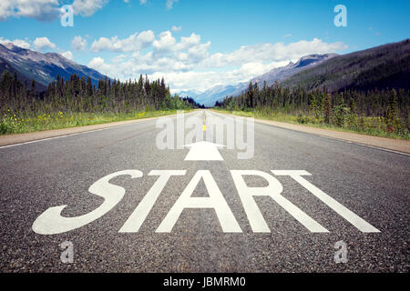 Start line on the highway concept for business planning, strategy and challenge or career path, opportunity and - Stock Photo
