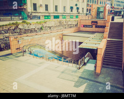 Vintage looking GENOA, ITALY - MARCH 16, 2014: The new San Giorgio tube station - Stock Photo