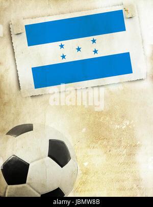 Vintage photo of Honduras flag and soccer ball - Stock Photo