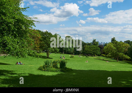 Waterlow Park, Highgate Hill, North London, looking South towards the city - Stock Photo