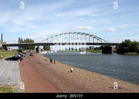 John Frostbrug (John Frost Bridge) over the Lower Rhine, centre of Arnhem, Gelderland, Netherlands. (Featured in - Stock Photo