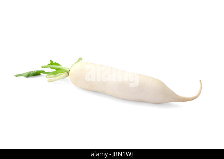 Daikon radish isolated on white background - Stock Photo