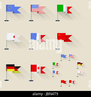 Set of flags of the world on flagpoles with shadow. - Stock Photo