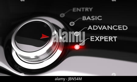 Switch button positioned on the word expert, black background and red light. Conceptual image for illustration of - Stock Photo