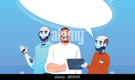 Chat Bot Robots And Man Using Tablet Computer Virtual Assistance Artificial Intelligence Concept - Stock Photo