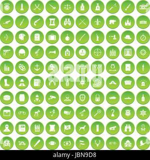 100 guns icons set green circle isolated on white background vector illustration - Stock Photo