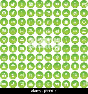 100 happy childhood icons set green circle isolated on white background vector illustration - Stock Photo