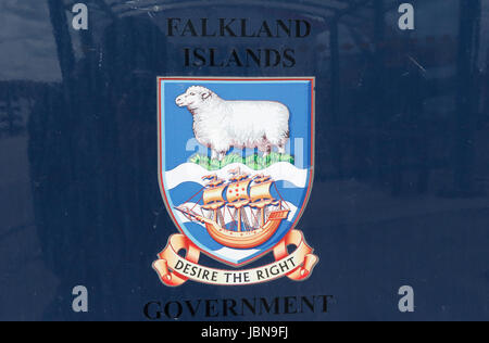 Falkand Islands Government badge on door of car in Stanley, Falkland Islands - Stock Photo
