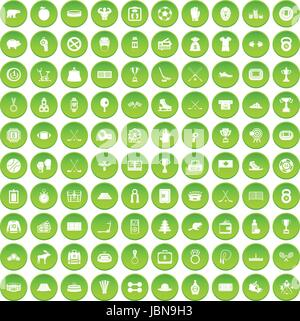 100 hockey icons set green circle isolated on white background vector illustration - Stock Photo