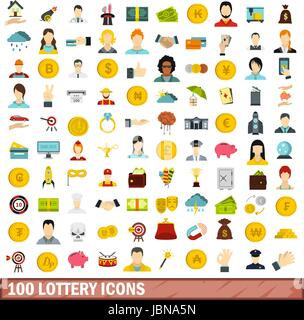 100 lottery icons set in flat style for any design vector illustration - Stock Photo