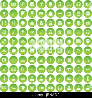 100 music icons set green circle isolated on white background vector illustration - Stock Photo