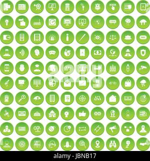 100 security icons set green circle isolated on white background vector illustration - Stock Photo