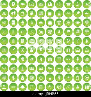 100 success icons set green circle isolated on white background vector illustration - Stock Photo