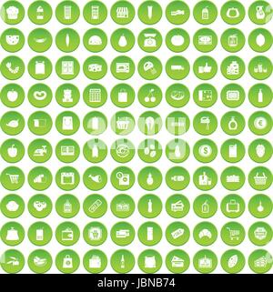 100 supermarket icons set green circle isolated on white background vector illustration - Stock Photo