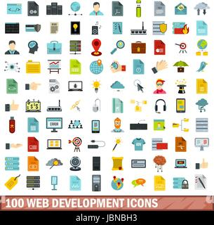 100 web development icons set in flat style for any design vector illustration - Stock Photo