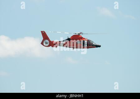 ATLANTIC CITY, NJ - AUGUST 17: US Coast Guard Helicopter at Annual Atlantic City Air Show on August 17, 2016 - Stock Photo
