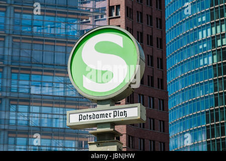 Berlin, Germany - june 9, 2017: The Undergrond metro / S-Bahn train station sign / S-Bahn Symbol of the Potsdamer - Stock Photo