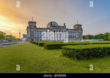 Berlin Reichstag (German parliament building) when sunrise, Berlin, Germany - Stock Photo
