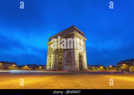 Paris city skyline at Arc de Triomphe and Champs Elysees when sunrise, Paris, France - Stock Photo