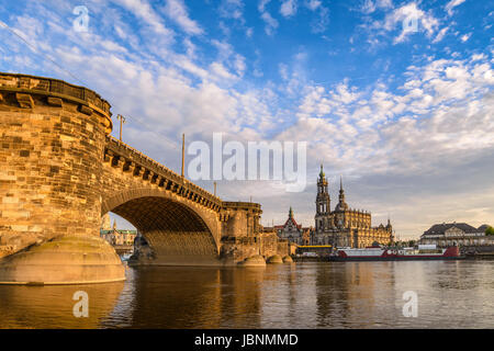 Dresden city skyline at Elbe River and Dresden Cathedral when sunset, Dresden, Germany - Stock Photo