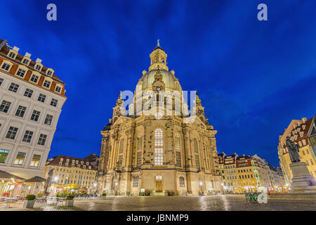 Dresden Frauenkirche (Church of our lady) at night, Dresden, Germany - Stock Photo