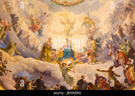 TURIN, ITALY - MARCH 15, 2017: The detail of fresco Mary Help of Christians in cupola of church Basilica Maria Ausiliatrice - Stock Photo