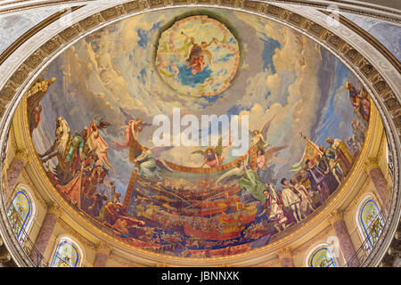 TURIN, ITALY - MARCH 15, 2017: The cupola with the fresco of Battle of Lepanto in 1571 in and Mary Help of Christians - Stock Photo