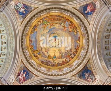 TURIN, ITALY - MARCH 15, 2017: The cupola of church Basilica Maria Ausiliatrice by Giuseppe Rollini (1889 - 1891). - Stock Photo