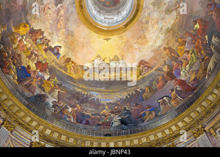 TURIN, ITALY - MARCH 15, 2017: The fresco of Holy Trinity in the Glory in cupola of church Chiesa della Santissima - Stock Photo