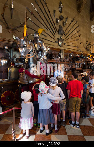 A tour guide talks about a display of armoury / armour to a group of children & other visitors in the great Hall - Stock Photo