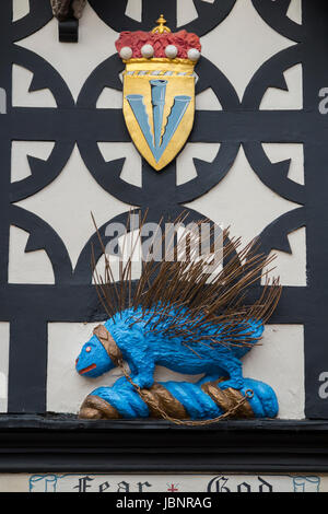 Blue & gold porcupine emblem of the Sidney Family on display in The Lord Leycester Hospital; retirement home for - Stock Photo