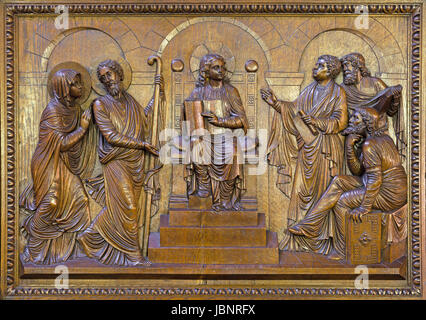 BERLIN, GERMANY, FEBRUARY - 15, 2017: The carved relief  Twelve old Jesus in the Temple in St. John the Baptist - Stock Photo