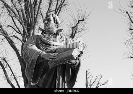 Berlin - The staue of reformator Martin Luther in front of Marienkirche church by Paul Martin Otto and Robert Toberenth - Stock Photo