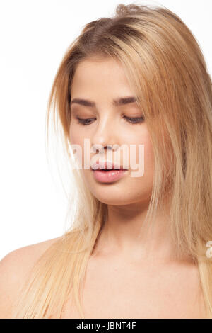 A bit overweight girl on white background in studio photo - Stock Photo